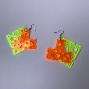 Image of Lactose x Chamu Boy Over and Under Holy Cheese Two Tone Earring Set