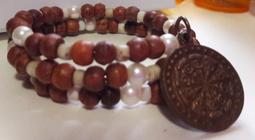 Brown and White Wooden Zen Memory Wire Bracelet