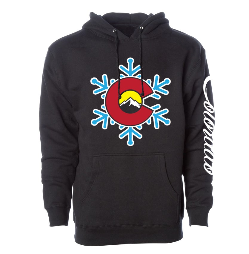 Image of COLORADO STATE EDIFICE SNOW FLAKE LOGO BLACK HOODIE
