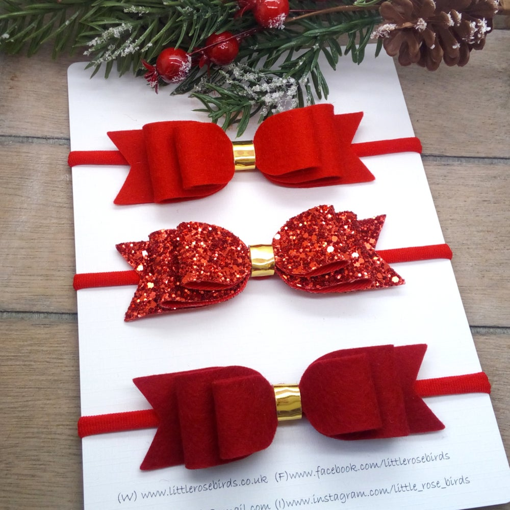 Image of Red Double Loop Bow Set - Headband or Clip