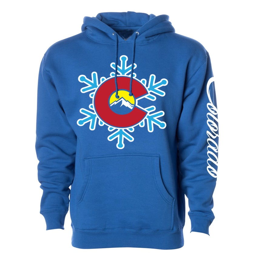 Image of COLORADO STATE EDIFICE SNOW FLAKE LOGO ROYAL BLUE HOODIE