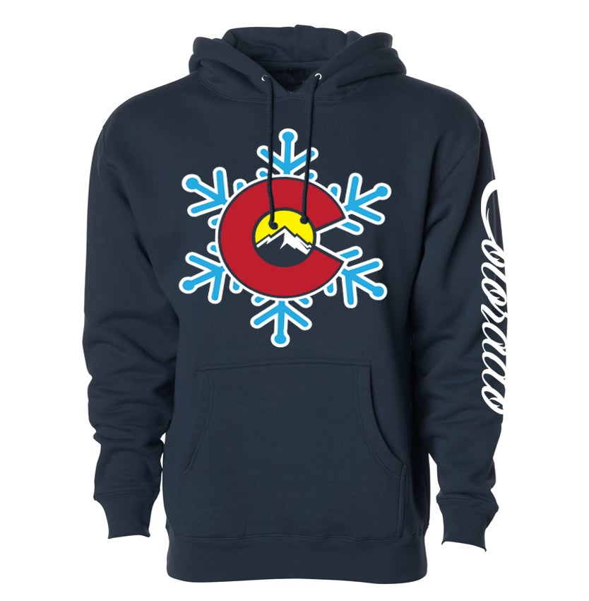 Image of COLORADO STATE EDIFICE SNOW FLAKE LOGO NAVY BLUE HOODIE