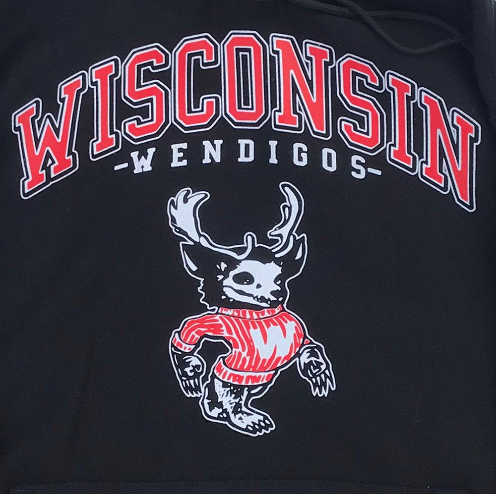 Image of **PRE-ORDER** WENDIGO HOODED SWEATSHIRT (CHAMPION® REVERSE WEAVE) - BLACK