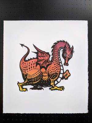Image of Dragon linocut