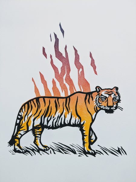 Image of Tiger linocut