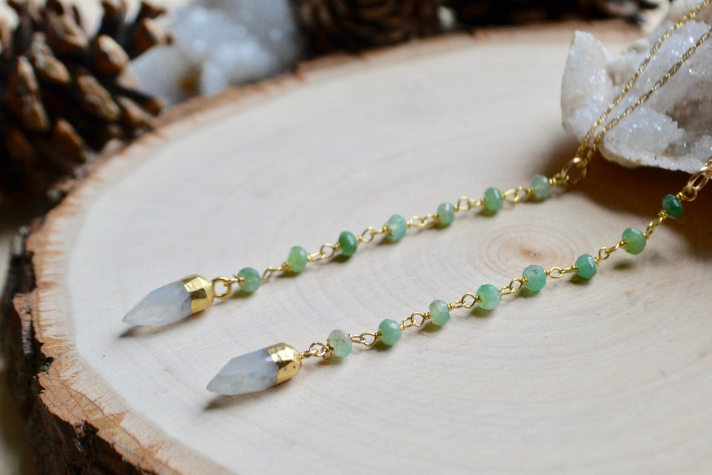 Image of Moonstone point with chalcedony beaded chain