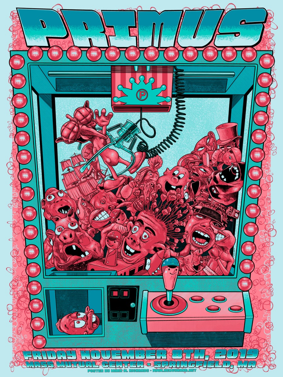 Image of Primus 11/8/19 Gig Poster - Sno-Cone Blue Variant