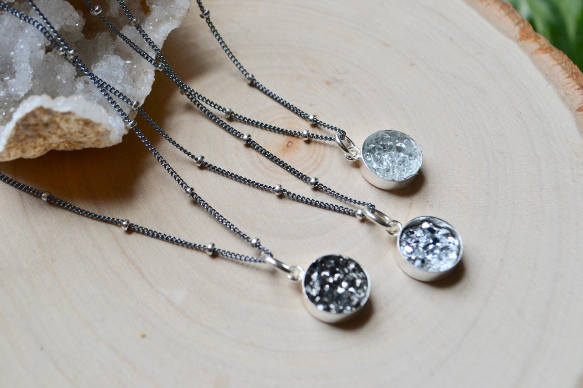 Image of Druzys on oxidized sterling silver chains