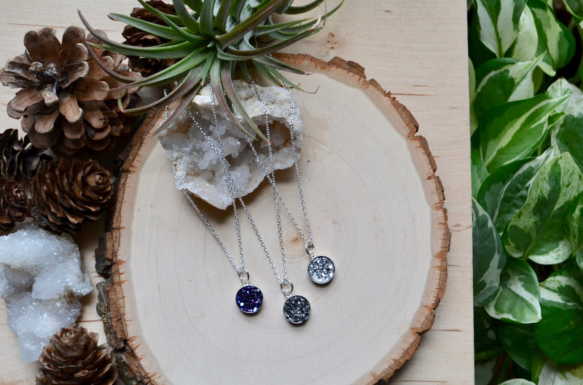 Image of Druzy on sterling silver chain