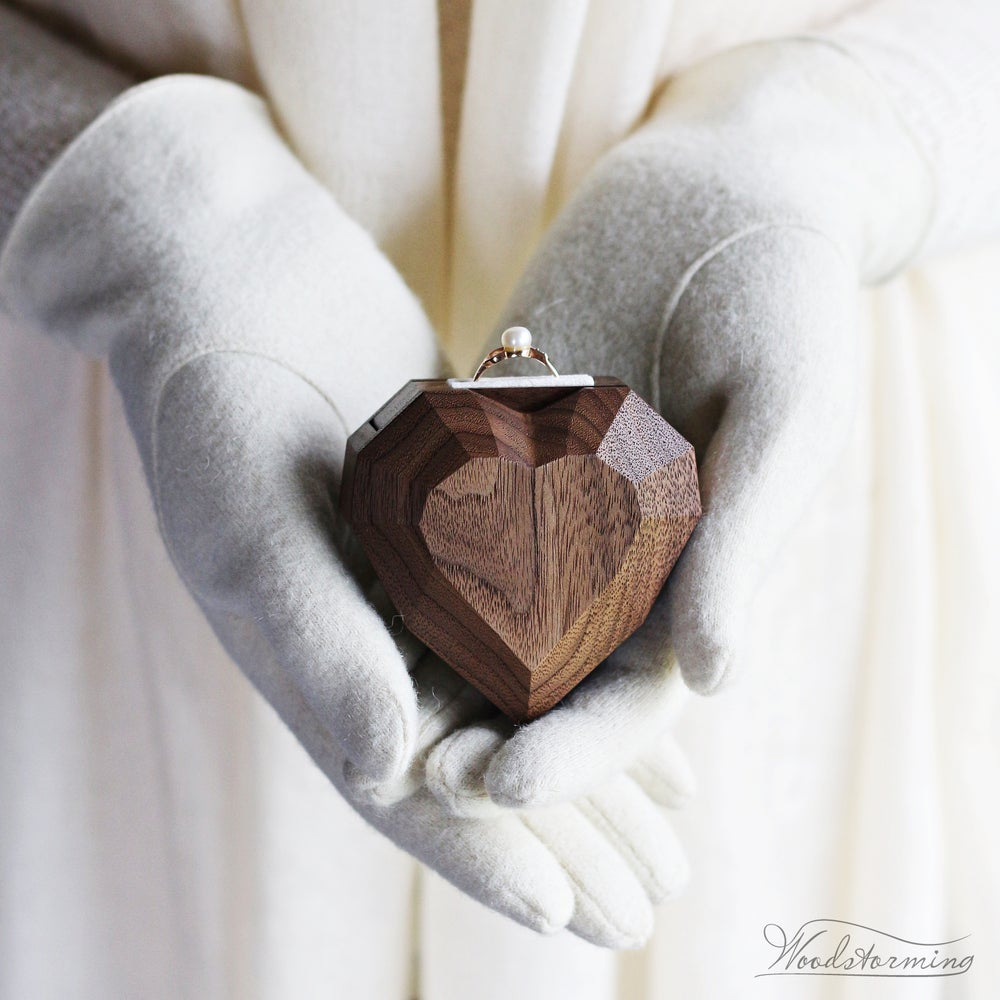 Image of Engagegement ring box - rotating heart shape ring holder by Woodstorming