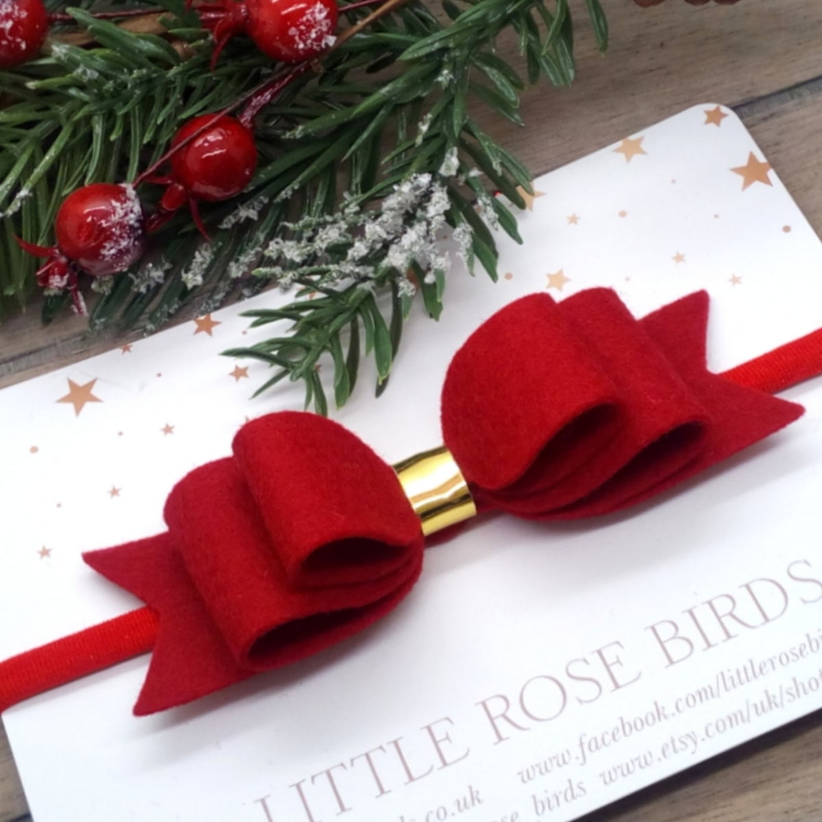 Image of Red (Deep Red) Felt Hair Bow on Headband or Clip