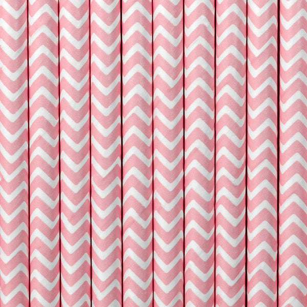 Image of Pajitas de papel rosa chevron
