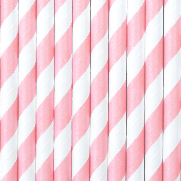 Image of Pajitas de papel de rayas rosas