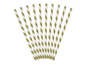 Image of Pajitas de papel rayas doradas