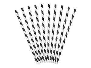 Image of Pajitas de papel rayas negras