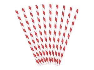 Image of Pajitas de papel rayas rojas