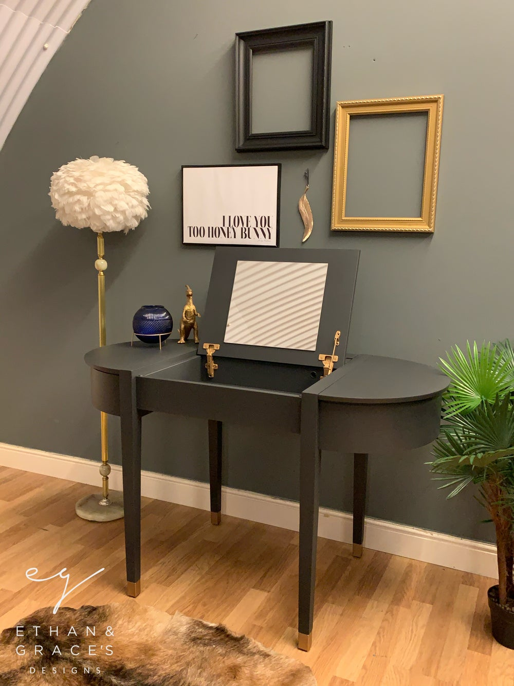 Image of Dark grey & gold desk /dressing table with plug sockets