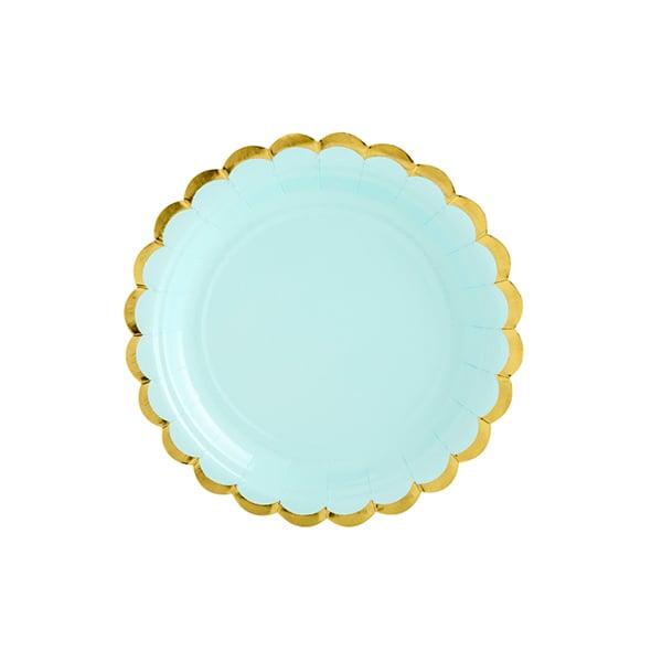 Image of Platos de papel mint con borde dorado