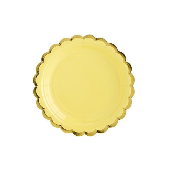 Image of Platos amarillo pastel con borde dorados - 6 uds