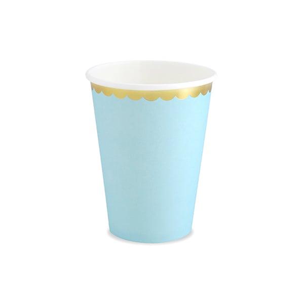 Image of Vaso celeste con borde dorado - 6 uds