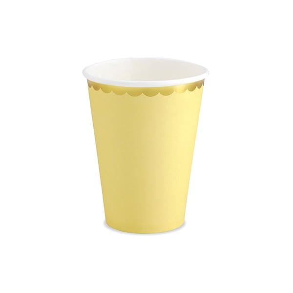 Image of Vaso amarillo pastel con borde dorado - 6 uds