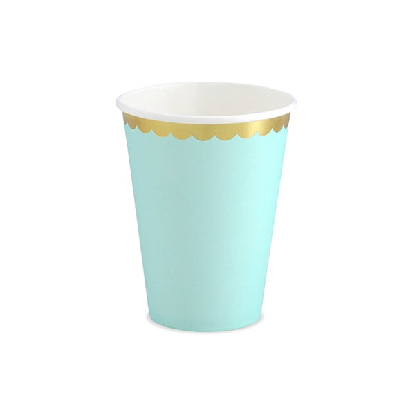 Image of Vaso mint con borde dorado - 6 uds