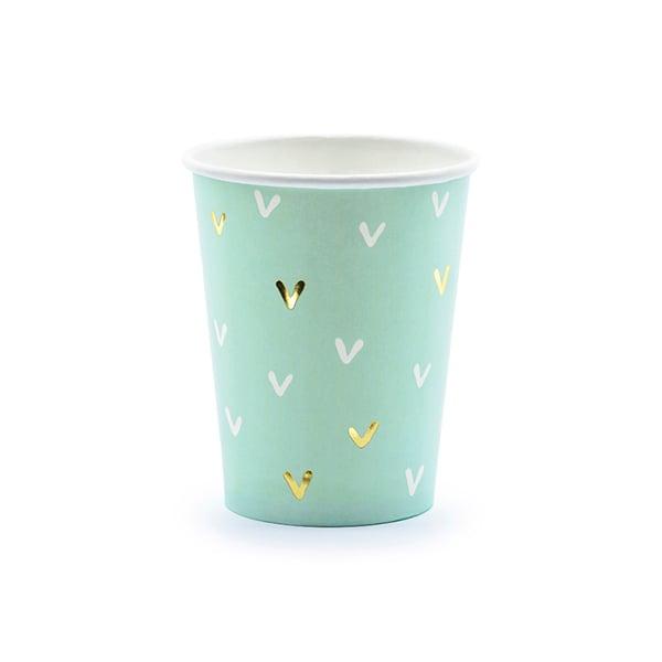 Image of Vaso mint con detalles dorados - 6 uds