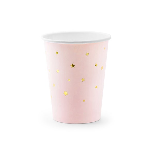 Image of Vaso rosa con estrellas doradas - 6 uds