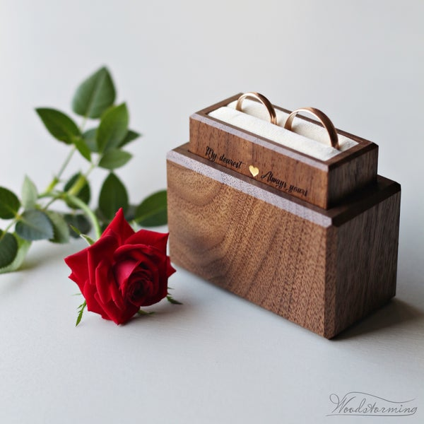 Image of Wedding ring box for ceremony, minimalist ring bearer box, wedding ring holder