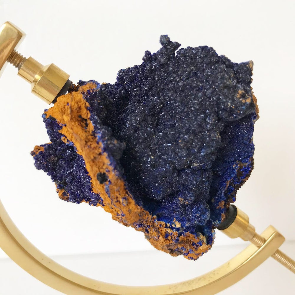 Image of Azurite no.14 + Brass Arc Stand