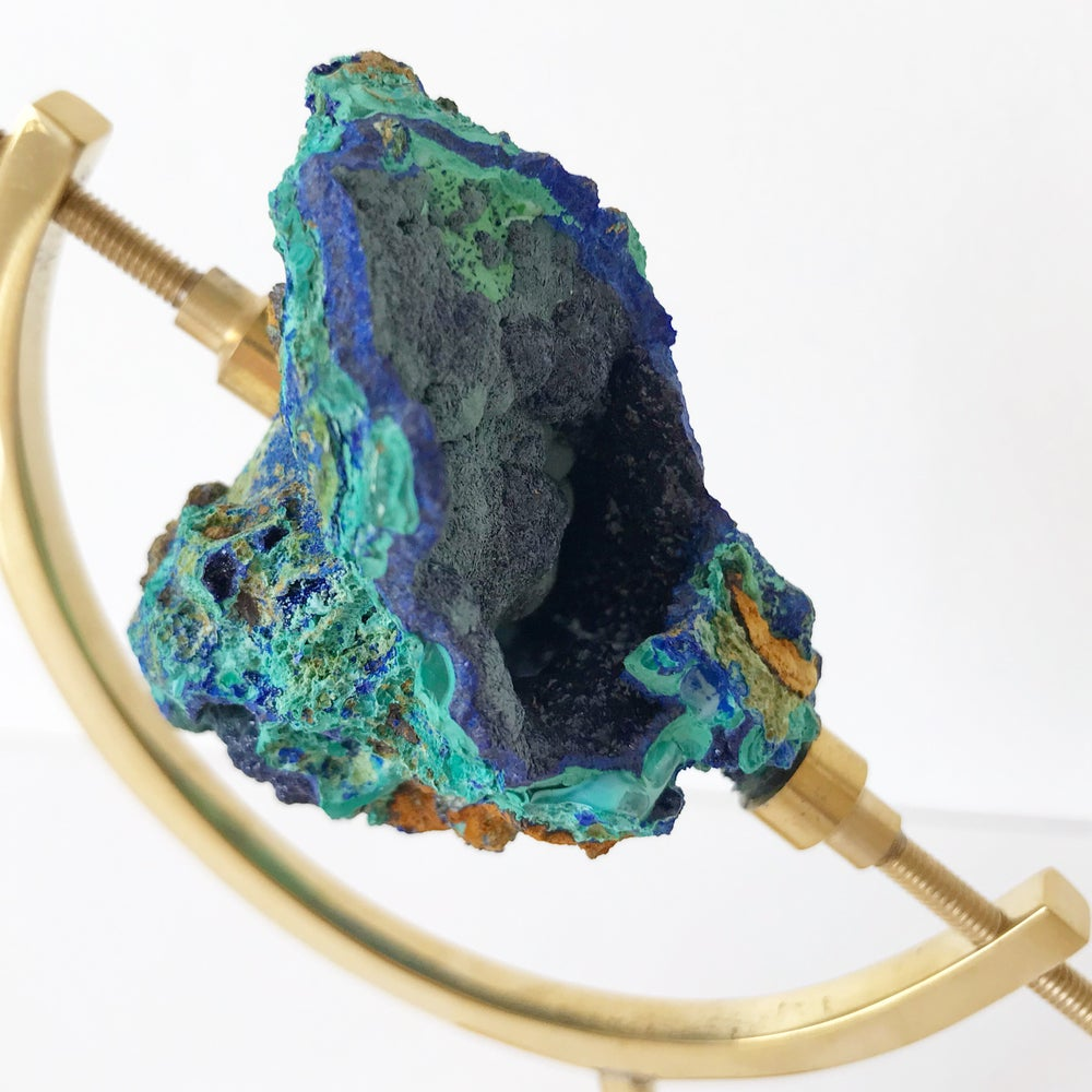 Image of Azurite/Malachite no.19 + Brass Arc Stand