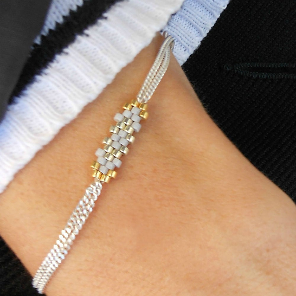 "Image of Bracelet Argent Gris ""Flocon"""