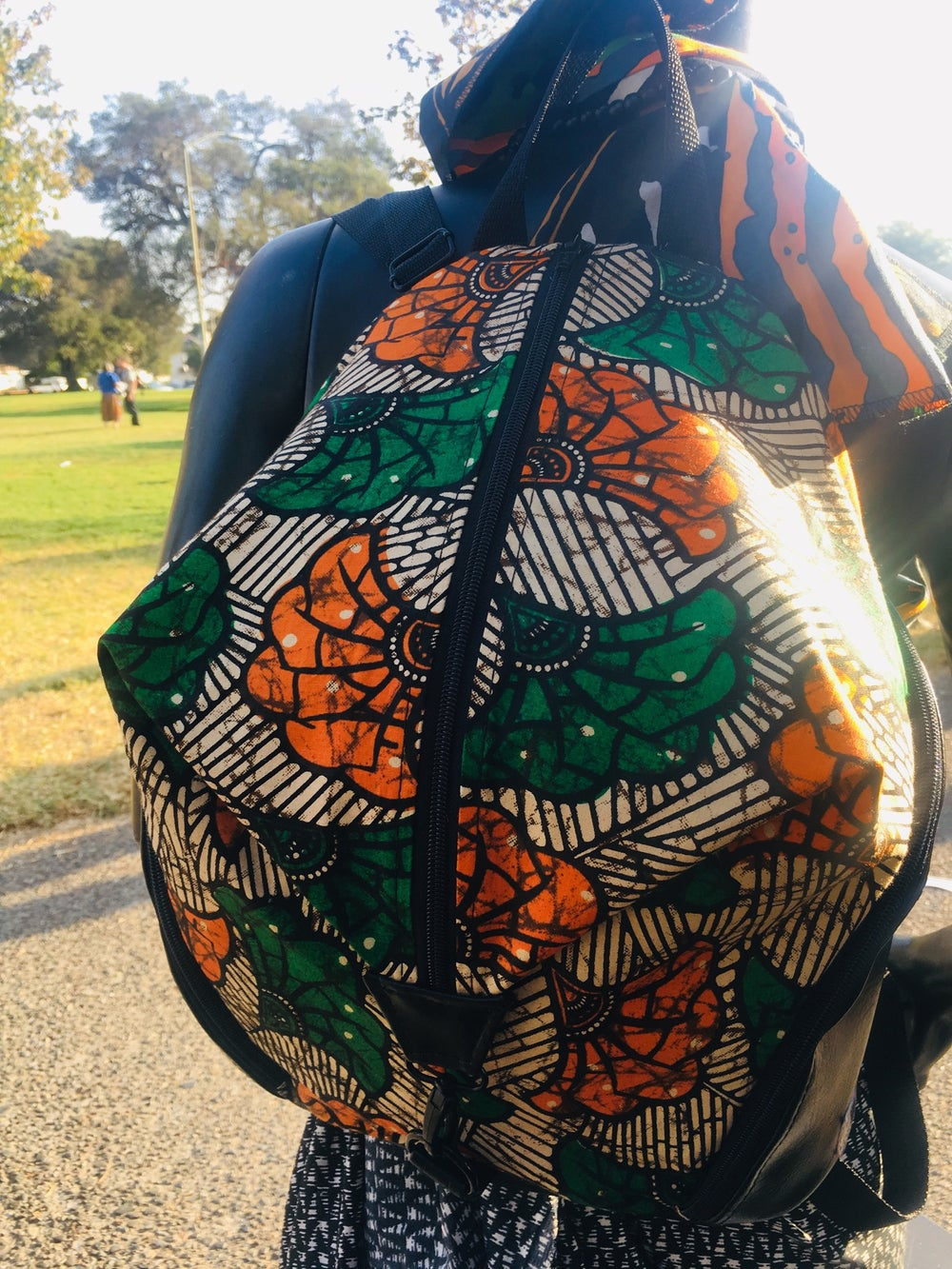 Image of Designs By IvoryB Backpack Ankara Green Orange