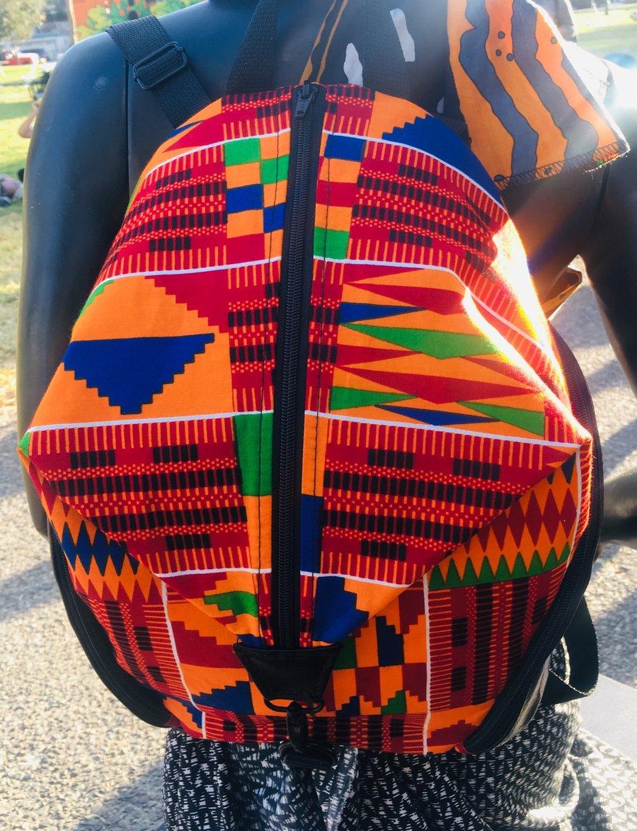 Image of Designs By IvoryB Backpack Kente Orange Ankara African Print