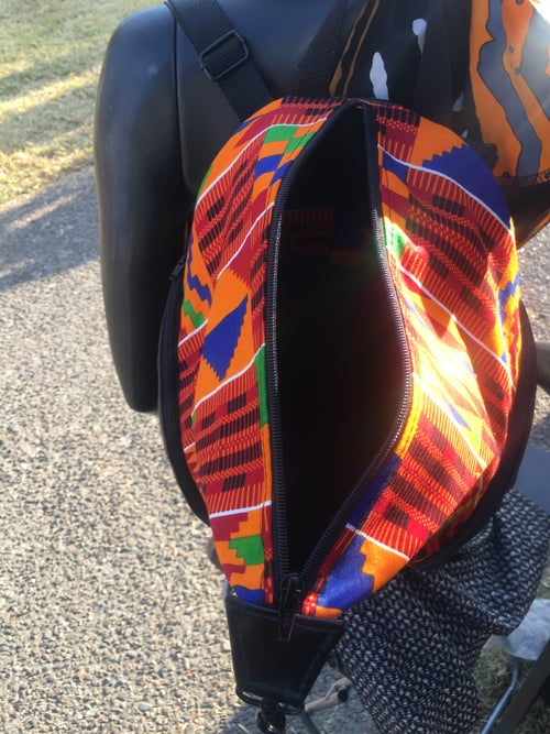 Image of Designs By IvoryB Backpack Kente Orange Ankara African Print