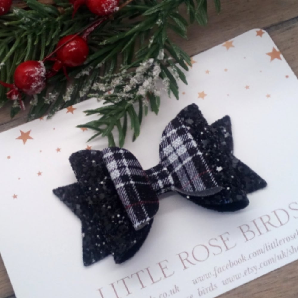 Image of Black Glitter & Tartan Bow -Choice of Size