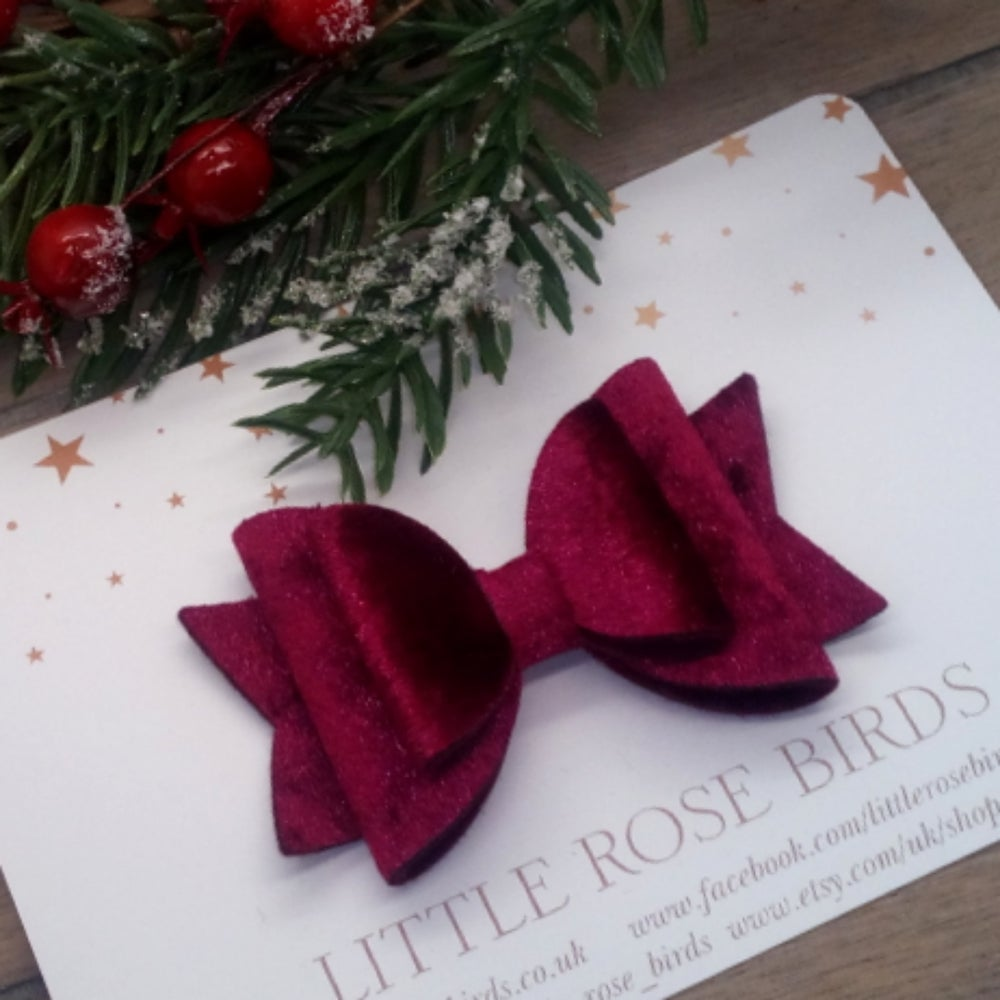 Image of Burgundy Velvet Bow - Headband or Clip