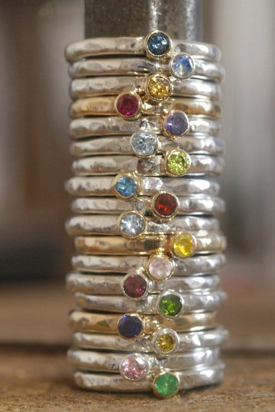 Image of Choose your own stone and metal stacking rings