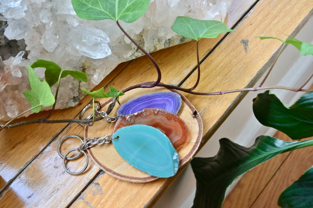 Image of Agate slice key chains