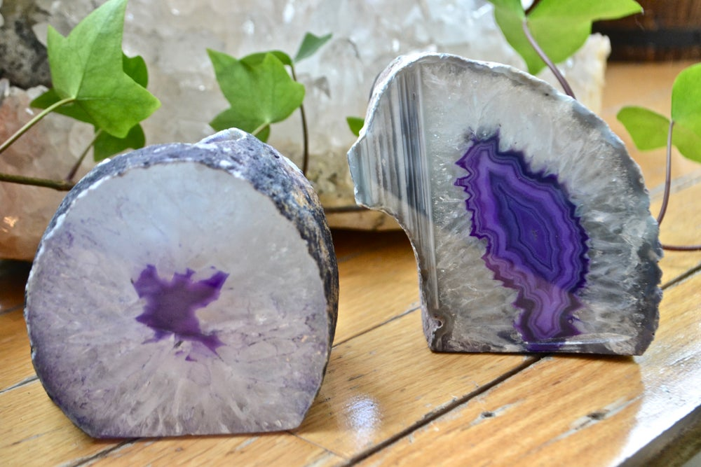 Image of Purple geode tea light holder