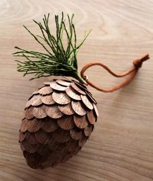 Image of Handmade wood veneer pinecone ornament