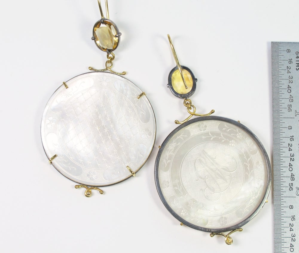 Image of Citrine Mother of Pearl Earrings
