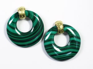 Image of Malachite Bamboo Door Knocker Earrings