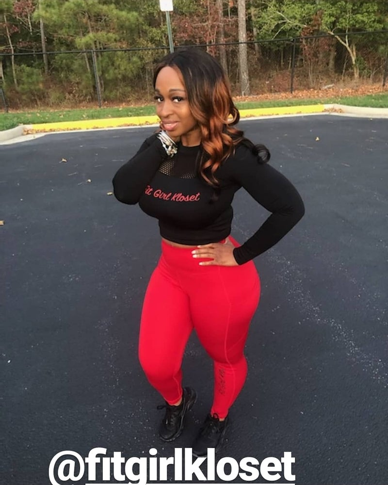 Image of Red Logo Black Long Sleeve Crop Top