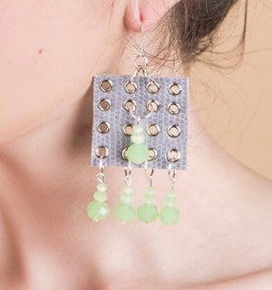 Image of Square beaded earrings