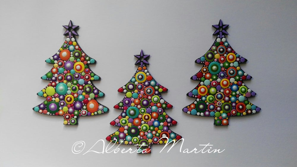 Image of (Number 9). Christmas Tree Ornaments- Dot Art Christmas ornaments. Set of 3.