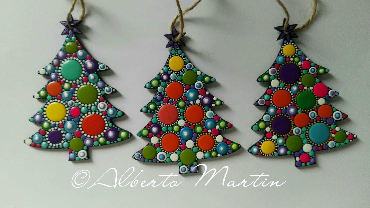 Image of (Number 10). Christmas Tree Ornaments- Dot Art Christmas ornaments. Set of 3.