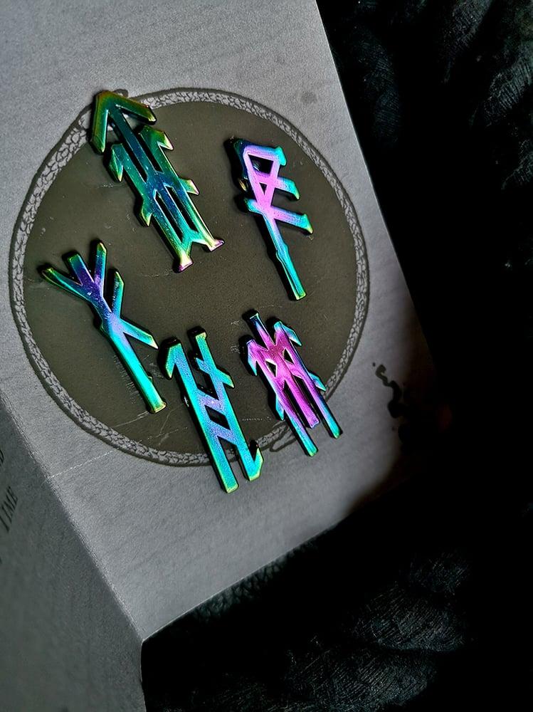 Image of Iridescent Bindrune Enamel Pins