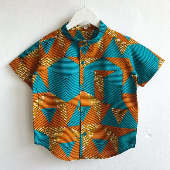 Image of Mandarin collar shirt in triangulate
