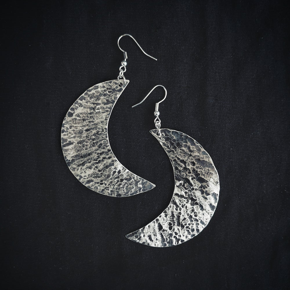 Image of MOON LARGE sterling silver earring pair